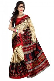 SVB Red Colour Printed Taffeta Saree Without Blouse Piece