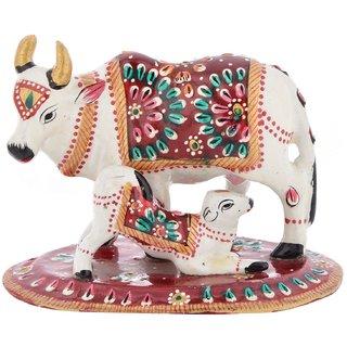 Handicraft Bazaar Minakari Kaamdhenu Divine Cow With Calf