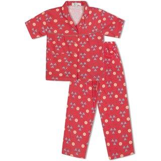 GreenApple Girls Organic Cotton Triangles  Circles Pyjama Set