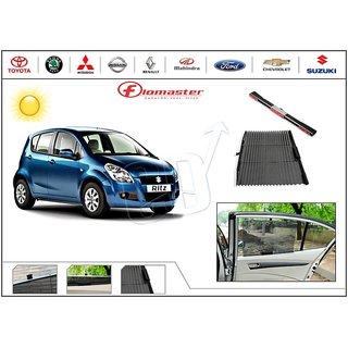 FloMaster- Car Sun Shades UV Protection AutoSun Up Curtains- Maruti Ritz - Black