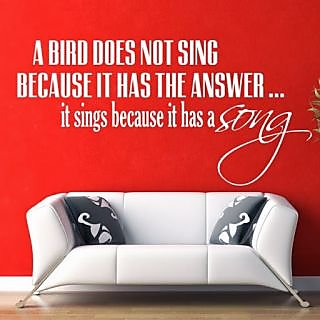 DeStudio A Bird Does Not Sing One Small Size Wall Decals  Stickers  (45cms x 51cms)