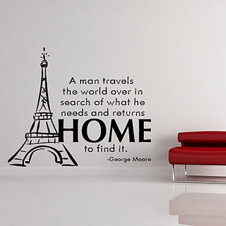 DeStudio A Man Travels The World Over In Search Of What He Needs TINY Size Wall Decals  Stickers  (45cms x 60cms)
