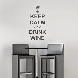 DeStudio Keep Calm And Drink Wine One TINY Size Wall Decals  Stickers  (45cms x 60cms)