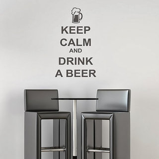 DeStudio Keep Calm And Have A Beer Small Size Wall Decals  Stickers  (45cms x 51cms)