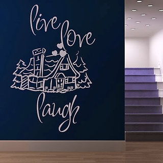 DeStudio Live Love Laugh Quote Small Size Wall Decals  Stickers  (45cms x 51cms)