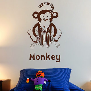 DeStudio Monkey Silhouette Kids Animals Wall Sticker TINY Size Wall Decals  Stickers  (45cms x 60cms)