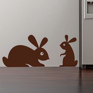 DeStudio Silhouette Rabbits Cute Wall Sticker TINY Size Wall Decals  Stickers  (45cms x 60cms)