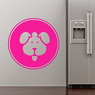 DeStudio Dog Pets Fun Circle Badge Wall Sticker Decal Home Wall Sticker TINY Size Wall Decals  Stickers  (45cms x 60cms)