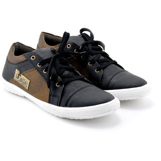 Boysons Men's Black and Brown Lace Up Casual Shoes