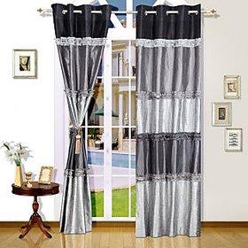 Adah Ruffle Panel Black  Door Curtain