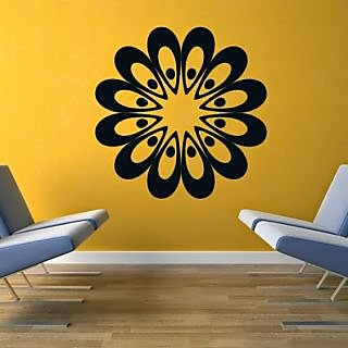 DeStudio Flower Head Floral Circle1 Small Size Wall Decals  Stickers  (45cms x 51cms)
