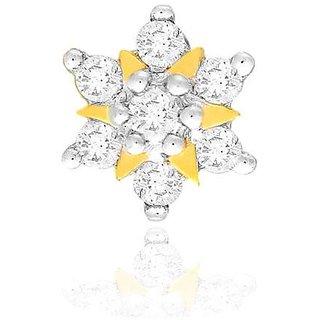 Nakshatra Diamond Designer 18K Yellow Gold Diamond Nose Pin