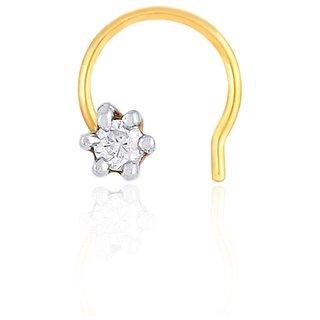 Sangini Diamond Designer 18K Yellow Gold Diamond Nose Pin