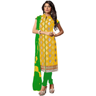 Manvaa Yellow color Chanderi EMBRODIEREY womens dress material- KMIXRTK1001