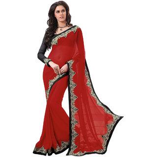 Subhash Sarees Red Colored Chiffon Plain Saree/Sari