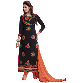 Manvaa Black color Georgette EMBRODIEREY womens dress material- KMIXOTKA2050
