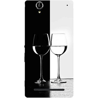 Casotec Black And White Glasses Design Hard Back Case Cover for Sony Xperia T2 Ultra
