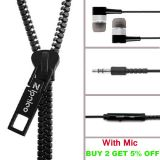 3.5mm Jack Stereo Zip Zipper Hands-free Headphones For All Mobile Phones / PC