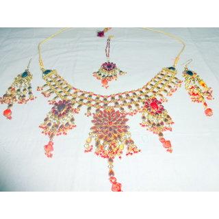 Necklace, earrings and maang teeka set