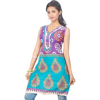 14 Fashions Geomatric Purple and Turcouise Cotton Casual Kurti For Women - 1600235