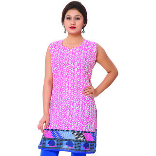 14 Fashions Paisely Pink Cotton Casual Kurti For Women - 1602204