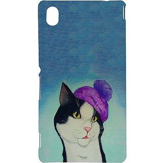 Casotec Cat Drawing Design Hard Back Case Cover for Sony Xperia M4 Aqua