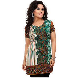 14 Fashions Paisely Green Crepe Casual Kurti For Women - 1601122