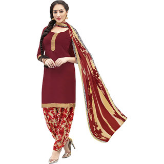 Manvaa Maroon color Crepe Printed womens dress material- KMIXRPSN1010014