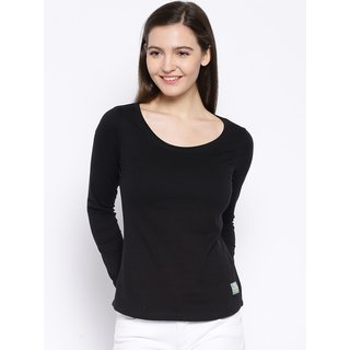 Cult Fiction Black color Scoop neck Tshirt for womens CFG30BL551