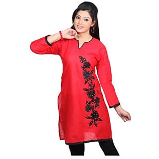 14 Fashions Solid Red Cotton Casual Kurti For Women - 1600802