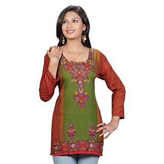 14 Fashions Geomatric Multicolor Crepe Casual Kurti For Women - 1602031