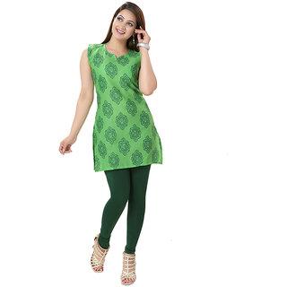 14 Fashions Geomatric Green Cotton Casual Kurti For Women - 1601203