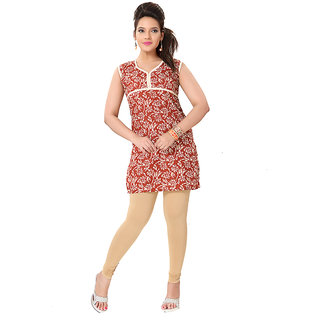 14 Fashions Geomatric Brown Cotton Casual Kurti For Women - 1601323
