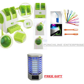Combo of USB Perfume Air Cooler with USB Led Light and Free Gift Mosquito Killer