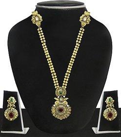 Zaveri Pearls Alloy Jewel Set(Red, Green, White)