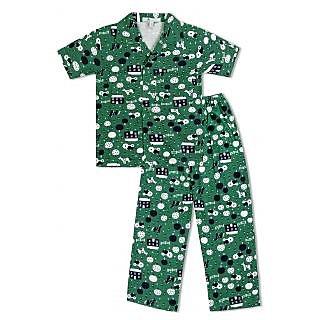 GreenApple Boys Organic Cotton Farm Print Pyjama Set