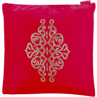 Beautiful Mind Center Embroidered Pattern Cushion Cover, Fuschia Pink (12 x 12 inch)