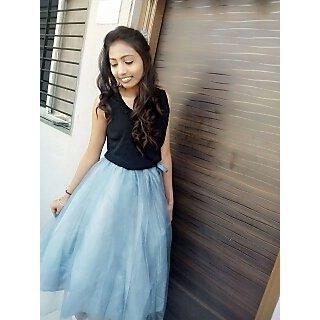 Chopra House Blue Plain Flared Skirt For Women