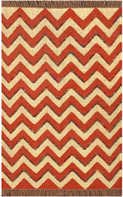 Rugsville Dhurrie Modern Multi Wool Handmade 13715 4x6 Rug