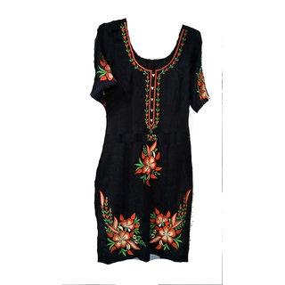 Women Black Resham Embroidered Cotton Kurti