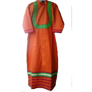 Women Orange Designer Cotton Kurti