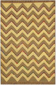 Rugsville Dhurrie Modern Multi Wool Handmade 13681 4x6 Rug