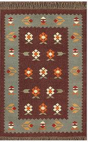 Rugsville Dhurrie Southwestern Multi Wool Handmade 13717 4x6 Rug