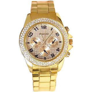 super selling Paidu Godan Analog Golden Metal Stone Studded Watch - Women