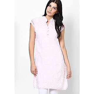 Pink Chicken Embroidery Kurti