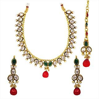 Traditional Ethnic Red Green Oval Gold Plated Necklace Set  Maang Tikka with Crystals for Women by Donna NM25047G