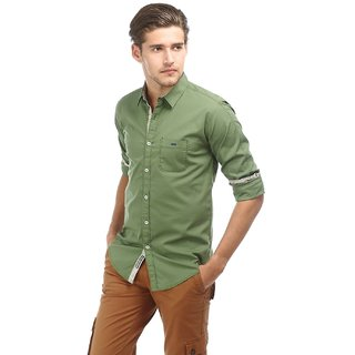 Casual Plain Green Cotton Elastane Slim Shirt