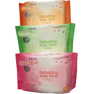 Set of 3 Pcs. Refreshing Facial Wipes
