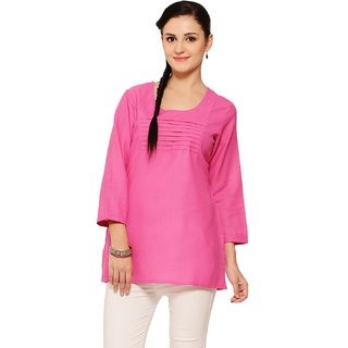 Titch Button Women Pink Plain Kurti