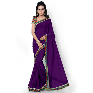 Aaina Violet Georgette Embroidered Saree with Blouse (FL-11770)